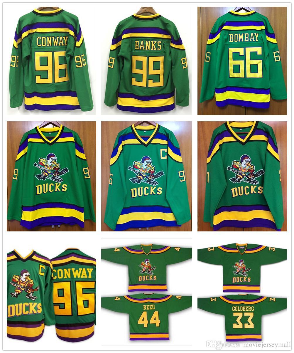 1993-94 Maillot de hockey Mighty Ducks de couleur verte 1996 96 Charlie Conway 99 Adam Banks 66 Gordon Bombay 33 Greg Goldberg 44 Maillots Fulton Reed