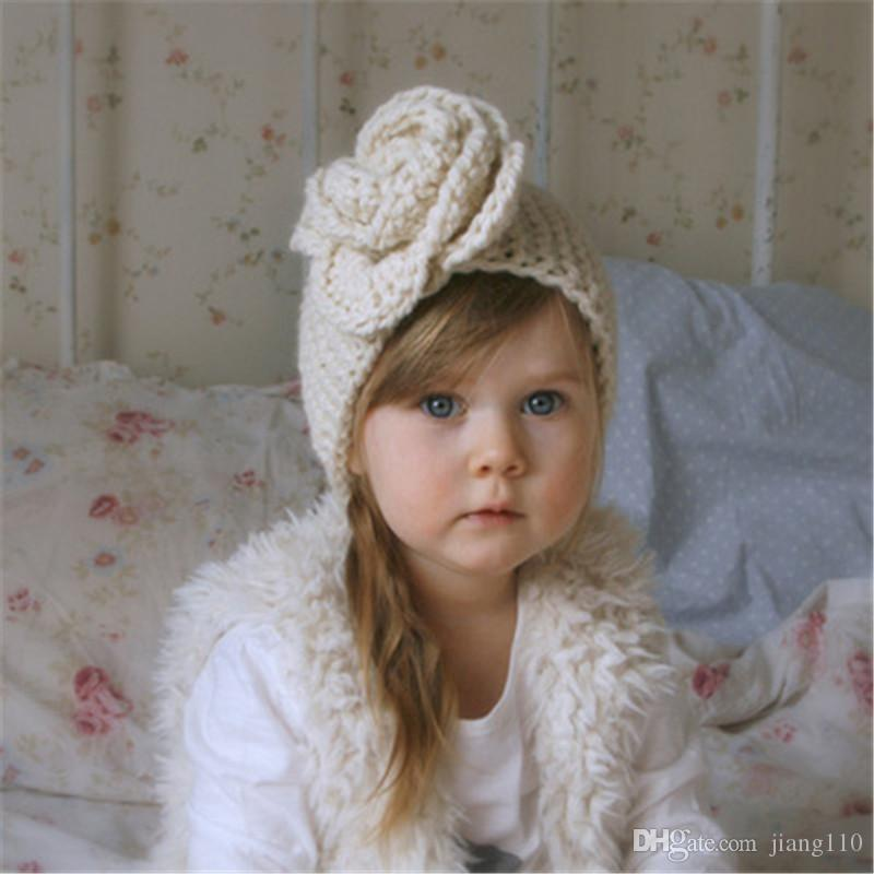 New Baby Girls Fashion Wool Crochet Headband Knit Hairband Flower Floral Winter Newborn Infant Ear Warmer Head Headwrap Hair Accessories
