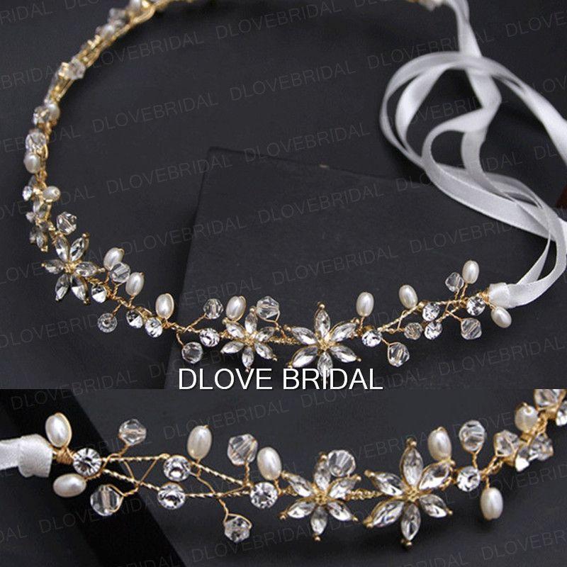 New Style Gold Bridal Hairband Handmade Fairy Flexible Crystal Pearls Beaded Wedding Party Hair Accesory Headband Headpieces with Ribbon