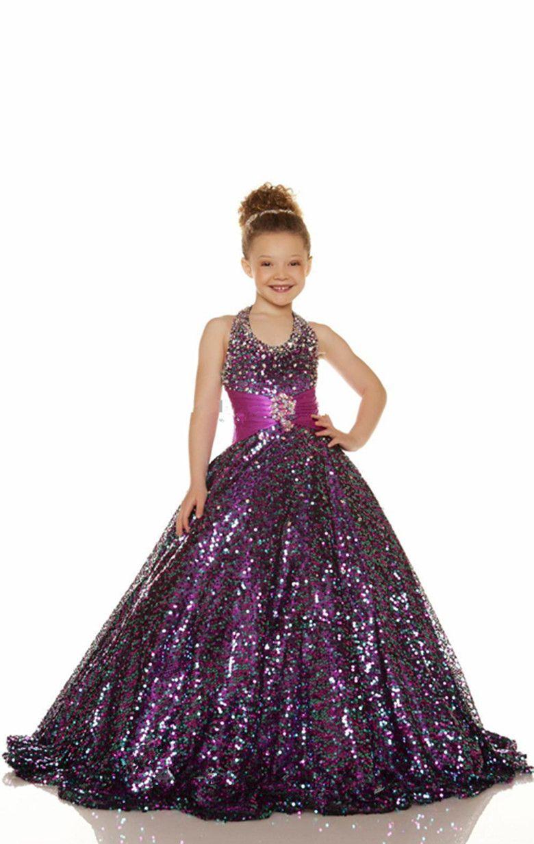 Großhandel 14 Günstige Gold Lila Blumen Mädchen Kleid Perlen Halfter  Ballkleid Des Mädchens Pageant Kleider Glänzenden Pailletten Spitze Kinder