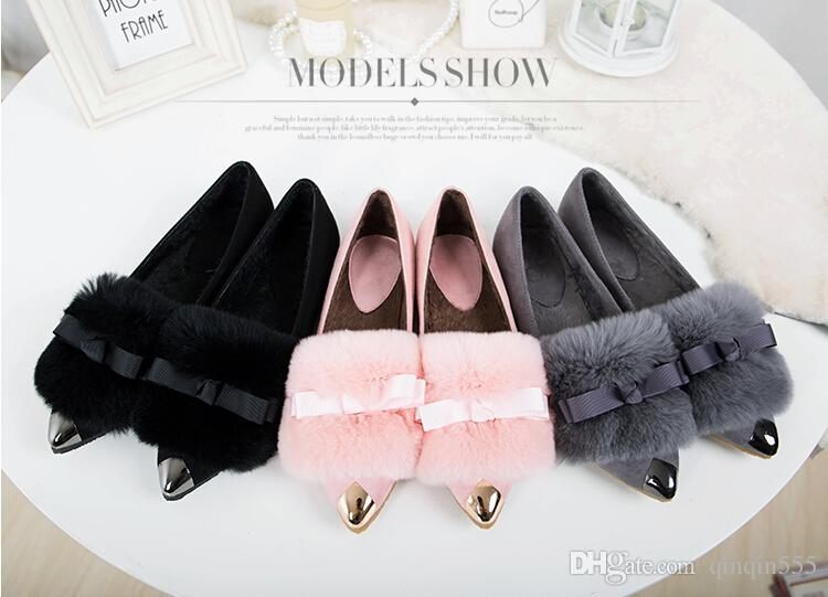 Sell like hot cakes--women spring and autumn rabbit hair pointed flat shoes , beautiful bowknot large size women shoes