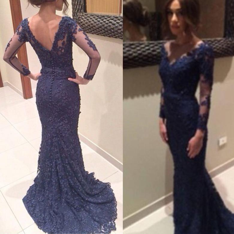 Elegante Scollo A V 2019 Navy Blue Appliqued Abiti Da Sera In Pizzo Sheer Maniche Lunghe formale Celebrity gowns bottoni indietro Mermaid Prom Dress Partito