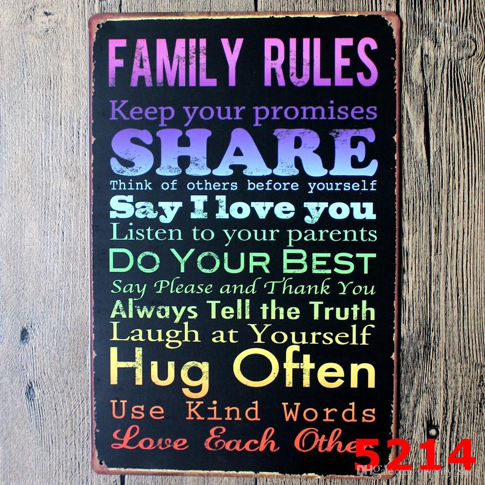 Family Rules Tin Sign Vintage Wall Art Keep Your Promises Poset For Home  Decor Pub Poster