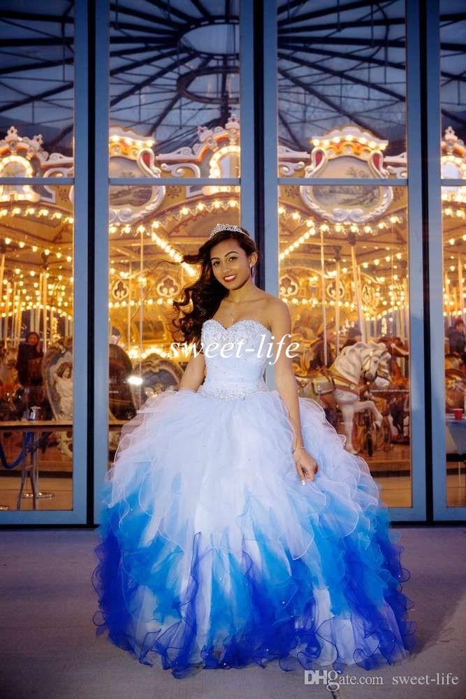 2019 رائعة فساتين quinceanera أومبير الأبيض الأزرق الكرة بثوب الحبيب منزعج الأورجانزا الترتر الدانتيل يصل vestidos دي فييستا الحلو 16 فساتين