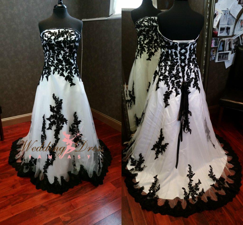 Discount Gorgeous Gothic Black And White Wedding Dresses 2015