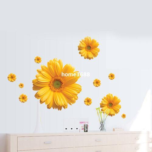 1 세트 20 * 43 인치 이동식 PVC Decals 아름다운 꽃 데이지 벽 스티커 DIY Art Home Decoration