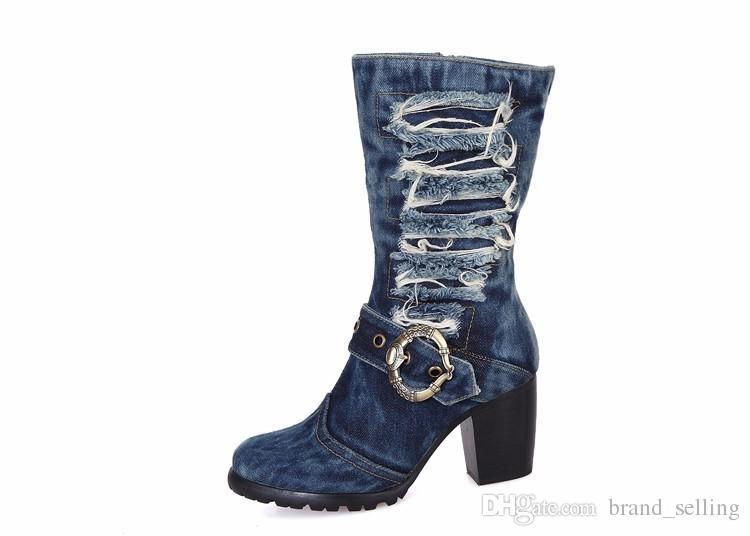 New Design Bootie Women Brand Denim Fashion Short Boots Thick Heels Side Zip Cowboy Boots jean boots Euro Size 35- 42