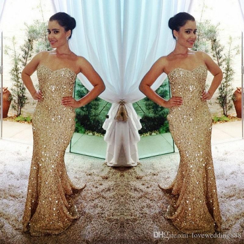 Sparkly Gold Pailletten Meerjungfrau Formale Abendkleider Schatz Sleeveless Sweep Long Prom Kleid Dubai Sexy 2017