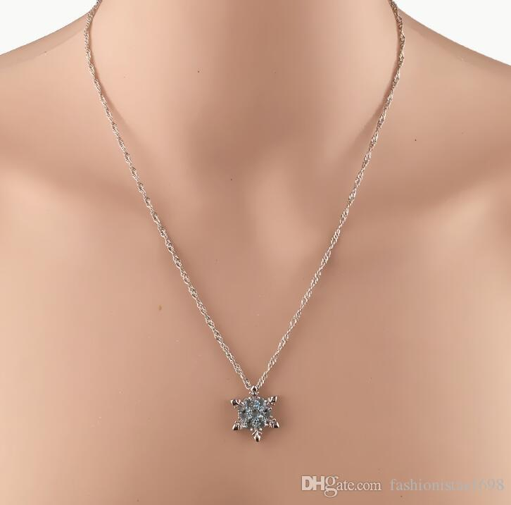 Silver Plated Blue Flower Love Heart Pendant Necklace Ladies Cute Xmas Style
