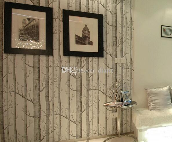 جديد بيرش نمط شجرة الغابة المنسوجة غير خلفية لفة مصمم الحديث الكوفيرينج بسيط خلفية سوداء وبيضاء لغرفة المعيشة