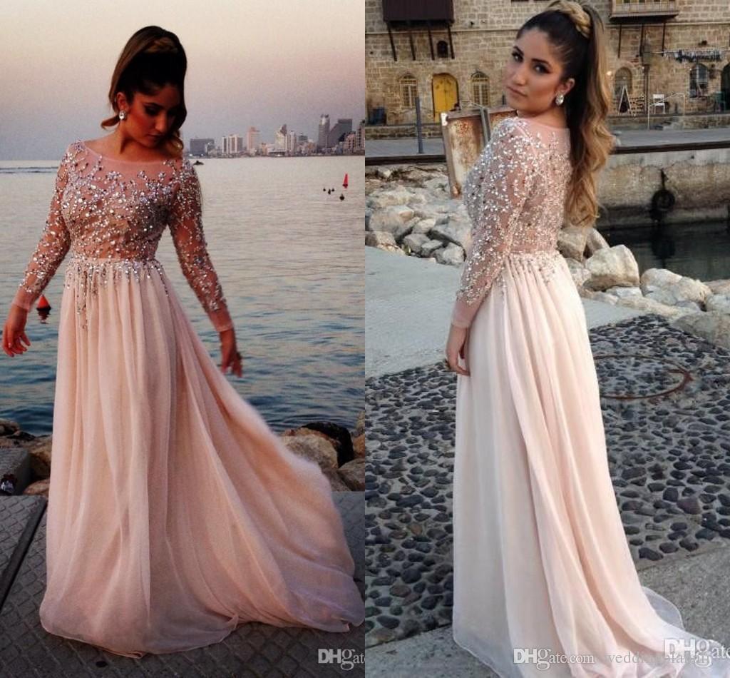 2017 Distinctive Crystal Beaded Elegant Prom Dresses Plus Size Sheer Bateau Långärmade En Linje Chiffon Sweep Train Long Prom Klänning med BHA
