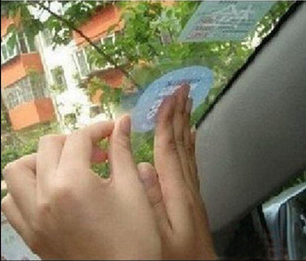 1PACK = 3 piezas etiquetas de inspección de coches titulares de disco de impuesto de coche frente marca de aumento de pegatinas electrostáticas etiquetas de señal ecológico JH2