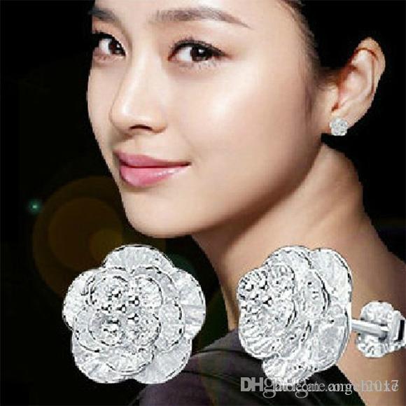 925 brincos do parafuso prisioneiro de prata esterlina das mulheres elegante romântico cereja amor brincos de orelha de jóias por atacado versão sul-coreano