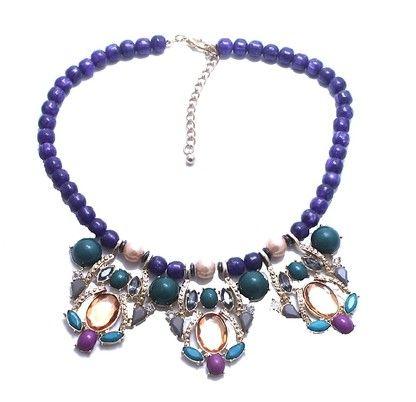 collier de perles colorées diamant pendentif dame (xysppfh)