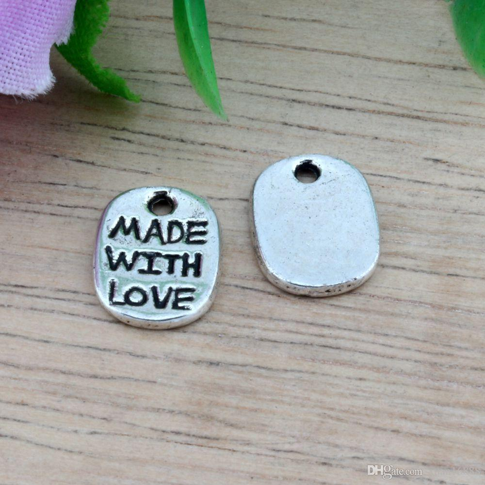 """Hot ! 300pcs Antiqued Silver Alloy """"Made With love"""" Charms Pendants 8X11 MM DIY Jewelry"""