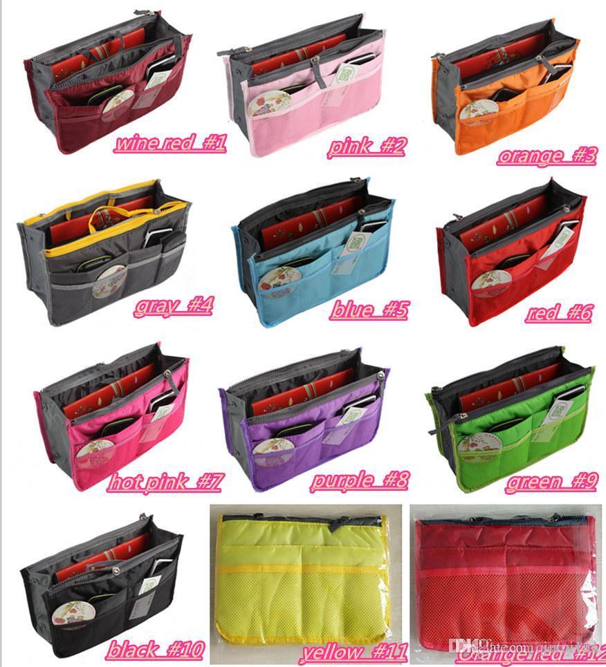 Portable Double Zipper Bag Einfügen Liner Geldbörse Organizer Handtasche Frauen Reisen Geldbörse Tasche in Tasche Organizer Cosmetics Storage HOT193
