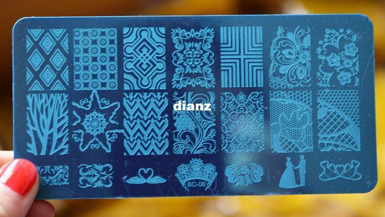 Chegam novas Preto Flor Rendas Prego Carimbar Placas de Aço Inoxidável Nail Art Stamp Template Manicure Ferramentas Prego