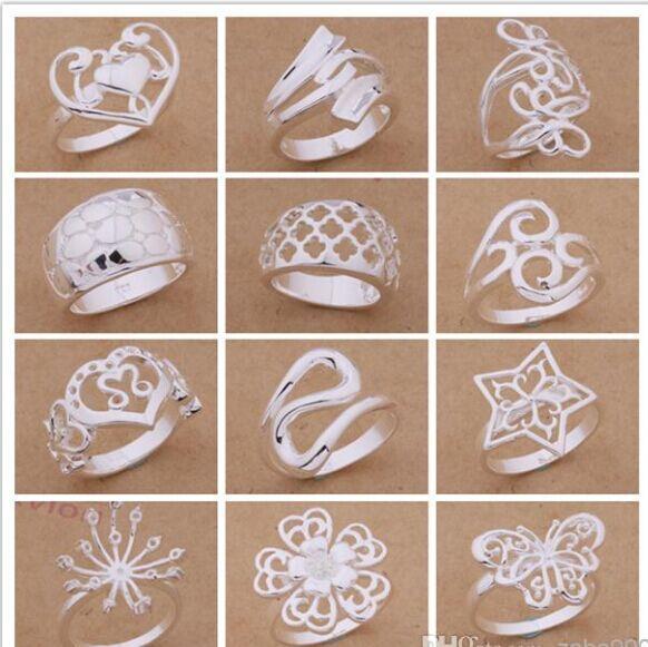 Ordre mixte 24pcs / lot 925 argent plaqué anneaux mode bijoux style de fête Top qualité cadeau de Noël livraison gratuite 1766