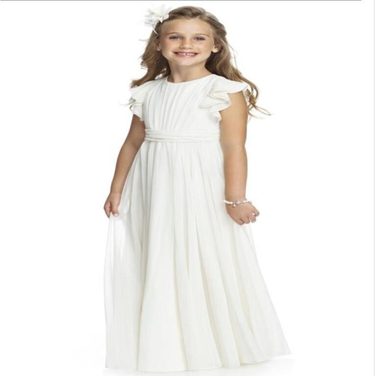 2015 Girls dresses Long Chiffon Ivory Communion Dress A Line Jewel Cap Sleeve Chiffon Floor length Flower Girl Dress With Bow Formal Wears