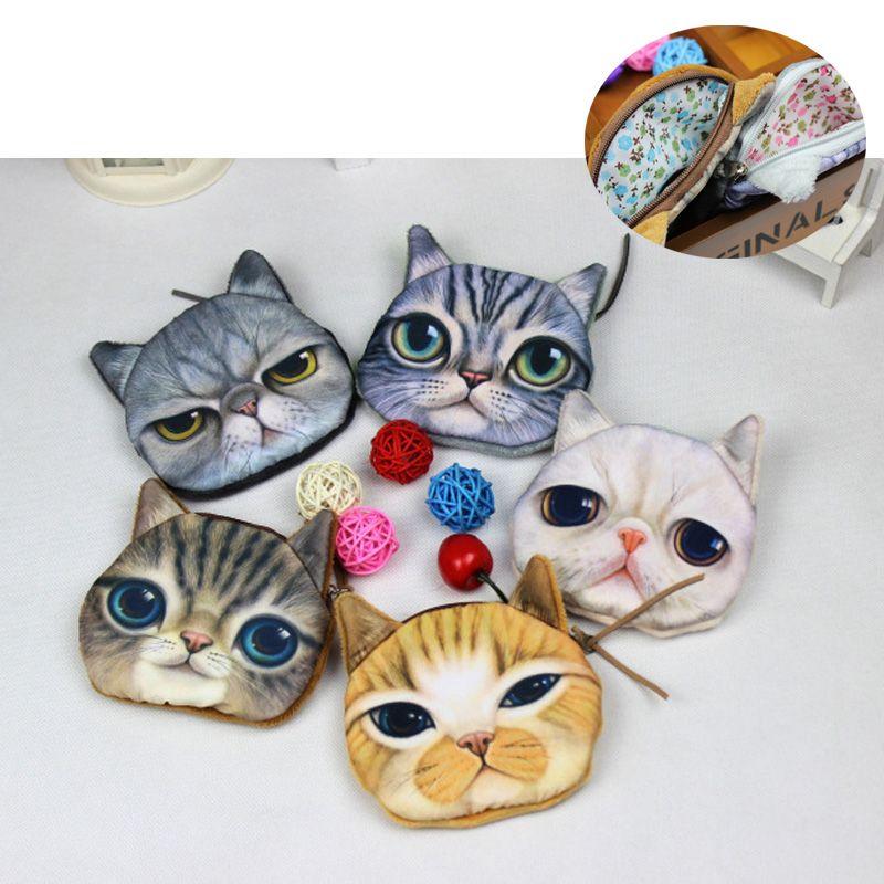 5 نمط 3d الطباعة الرقمية القط وجه عملة محفظة الحيوان مخلب محفظة المرأة اليد هف محفظة حامل عملات الحقيبة التجميل ماكياج المحافظ محافظ