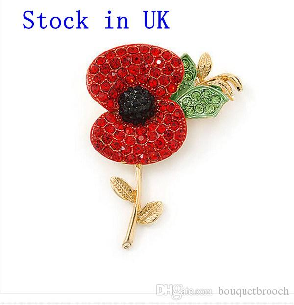 Stock in UK ! Red Diamante Crystal Rhinestone Poppy Flower Brooch with leaf Gold Finish Gilt Finish New