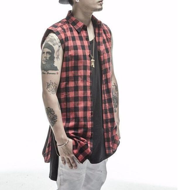 2016 plaid Hip Hop Men Shirt Chris Brown oversized Gold Side Zipper Extended Plaid shirt men casual Red Sleeveless tee shirt (16)