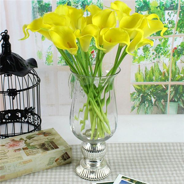 1pack/lot 10pcs Real Touch Lily Calla PVC Artificial Flower Bouquets Home Wedding Bridal Decor 6 Colors QB671574