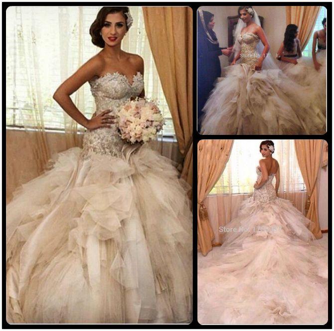 Robes De Mariage De Sirène De Luxe Magnifique Cathédrale Robes De Mariée Élégante robe de noiva sereia Robe De Mariage De Dentelle