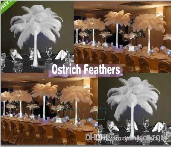Prefetto Natural Bianco Struzzo Feather Wedding Eiffel Centerpieces Decorazione della festa di nozze Molte dimensioni da scegliere TXX25