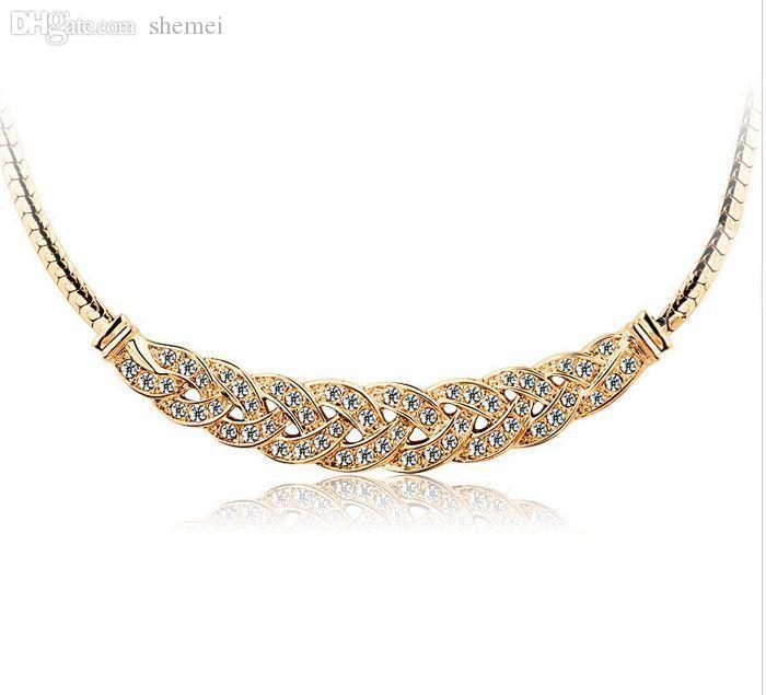 Großhandels-Wiederherstellen der alten Wege Anhänger Schlangenkette Schmuck Kristall Choker Chunky Twist Nachahmung Diamant Charm Statement Bib Halskette