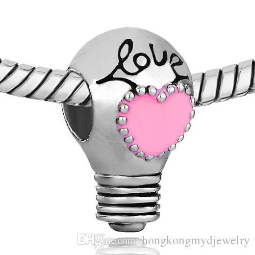 Rosa Herz Emaille Liebe Birne Charme europäischen Bead Fit Pandora Chamilia Biagi Bettelarmband für den Valentinstag