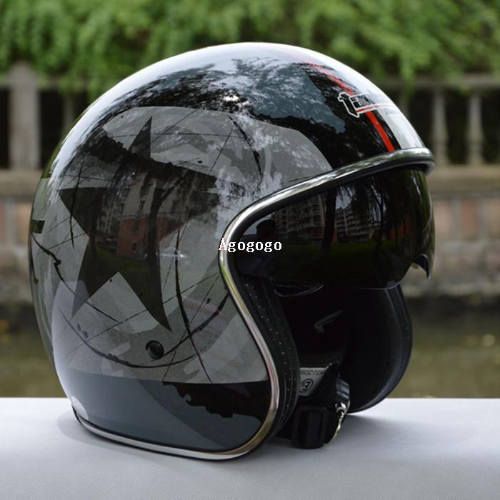 casco del motociclo del casco del casco del casco del casco di Jet aperto delle donne Tanked Racing capacetes di vetro dell'annata delle donne dell'uomo