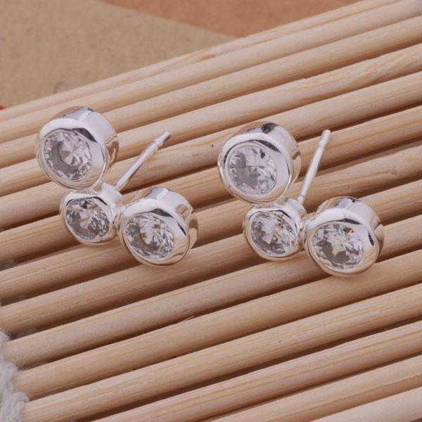 Moda (fabricante de joyas) 20 piezas mucho 3 Pendientes de diamantes redondos precio de fábrica de la joyería de plata esterlina 925 Pendientes de brillo de moda