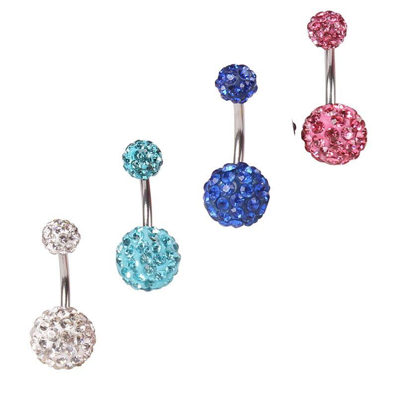 Cristal doble bola de discoteca Ferido Belly Bar Ombligo ombligo anillo Shamballa Belly Anillo Piercing joyería 10mm 30pcs 10 colores