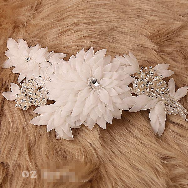 Traum Bellis Perennis Bridal Stirnband Crystal Bridal Haar Zubehör Elfenbein kann als Sash handgemachte Organza Blume Stirnband tragen