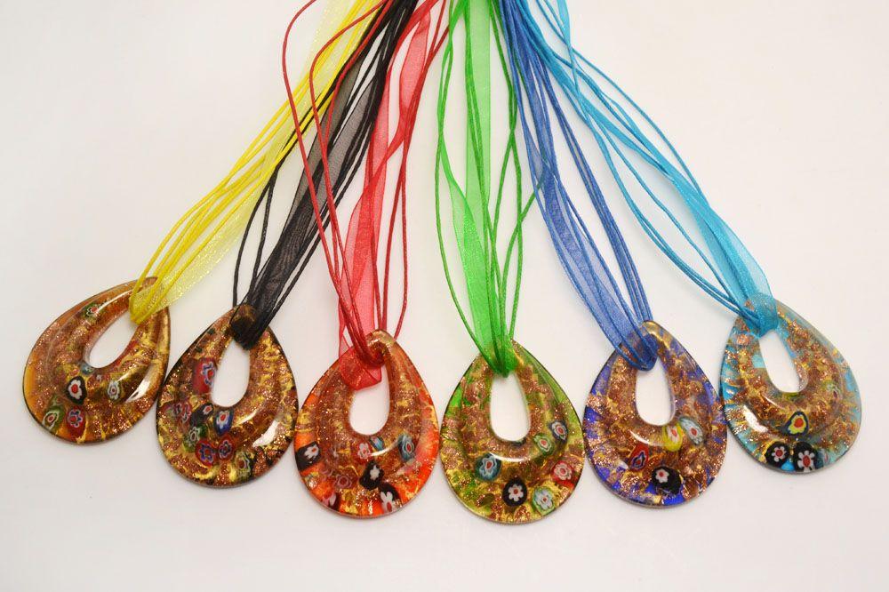 wholesale 6pcs handmade mix color Italian venetian Transparent Drop Millefiori Lampwork murano glass pendant 3+1 silk necklaces nl0177m*6