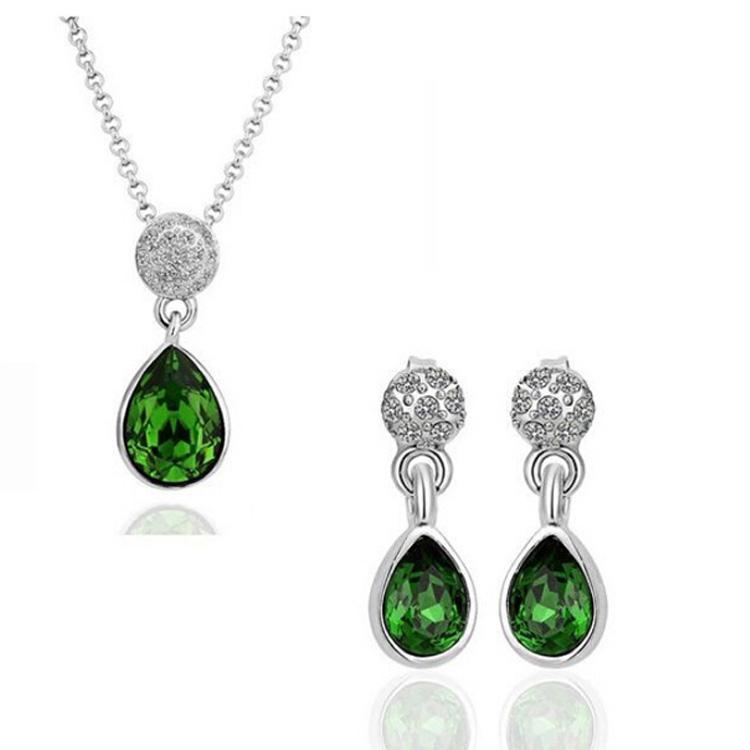 18 k colar de cristal austríaco brincos gota de água moda strass africano jóias para mulheres conjuntos de jóias 1438