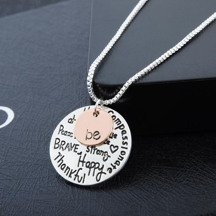 Two tone be inspirational necklace graffiti charm pendant two tone be inspirational necklace graffiti charm pendant necklace best friends sister christmas mozeypictures Image collections