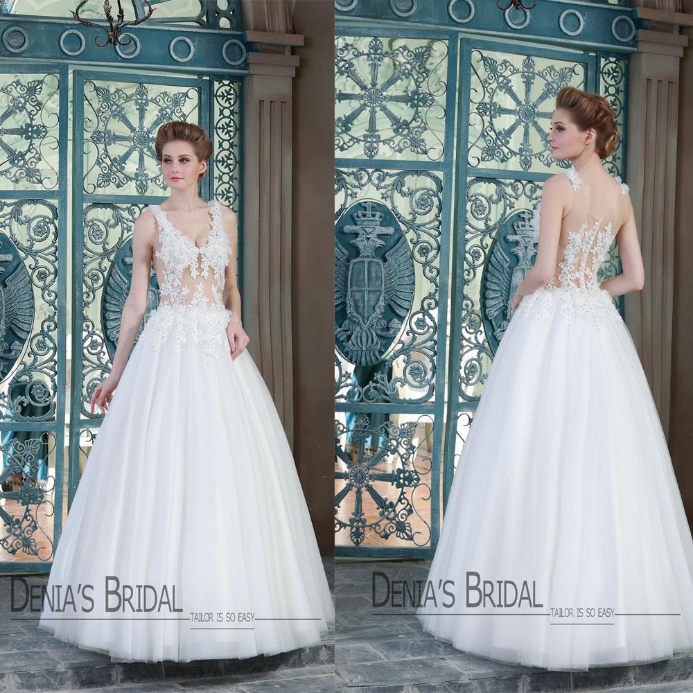 2015 Sexy Vestidos De Casamento Uma Linha Sheer Illision Top Correias V Neck Lace Frisada Feitas À Mão Flores Até O Chão Denia Vestidos De Noiva