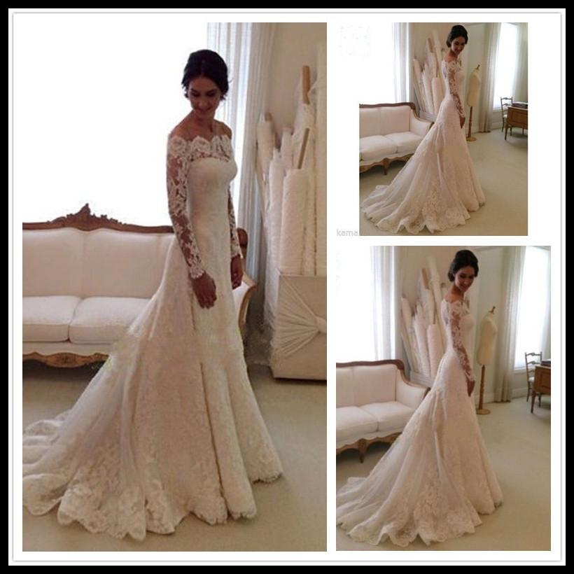 Fashion Long Sleeve Wedding Dress Sexy Lace Wedding Dresses Mermaid ...