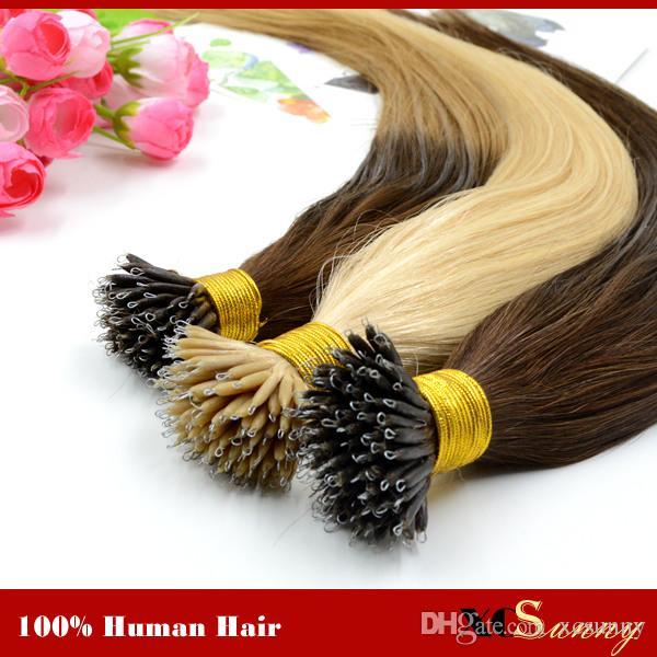 """XCSUNNY Estensioni dei capelli umani anello malese Remy Nano 100 perline + 18 """"20"""" 100g / confezione Estensioni dei capelli anello nano"""