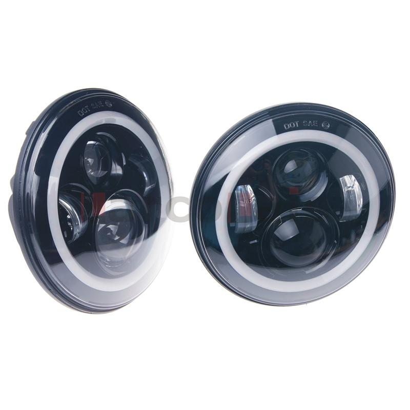 7inch 2PCS Motorcycle Projector Daymaker HID LED Light Bulb Headlight With Angel Eye
