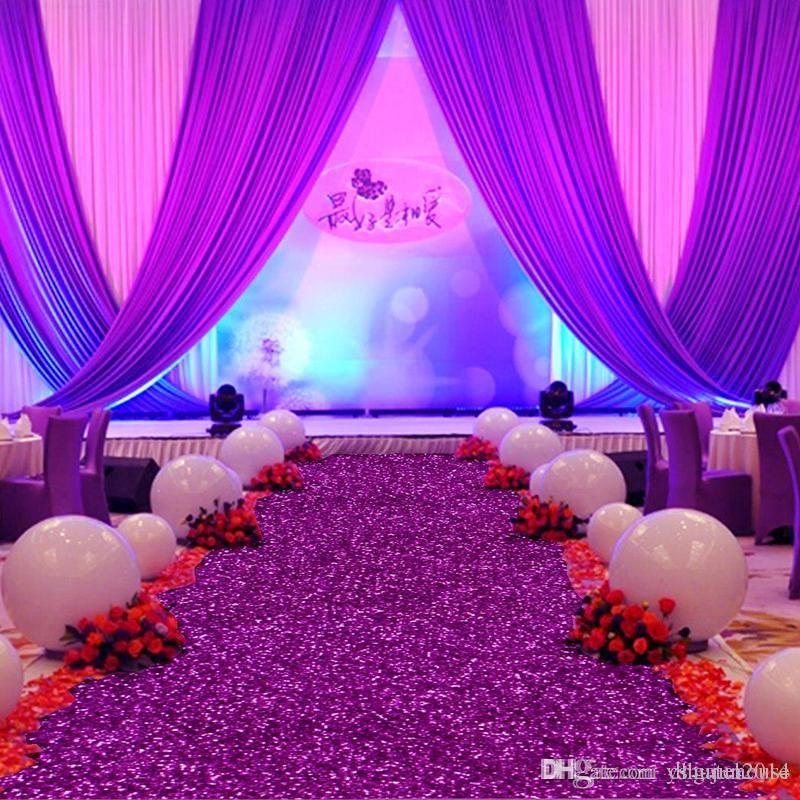 facsion 10 m / 롤 1.2m 와이드 반짝이 보라색 진주 빛 웨딩 카펫 티 스테이션 파티 웨딩 장식 용품에 대 한 통로 주자