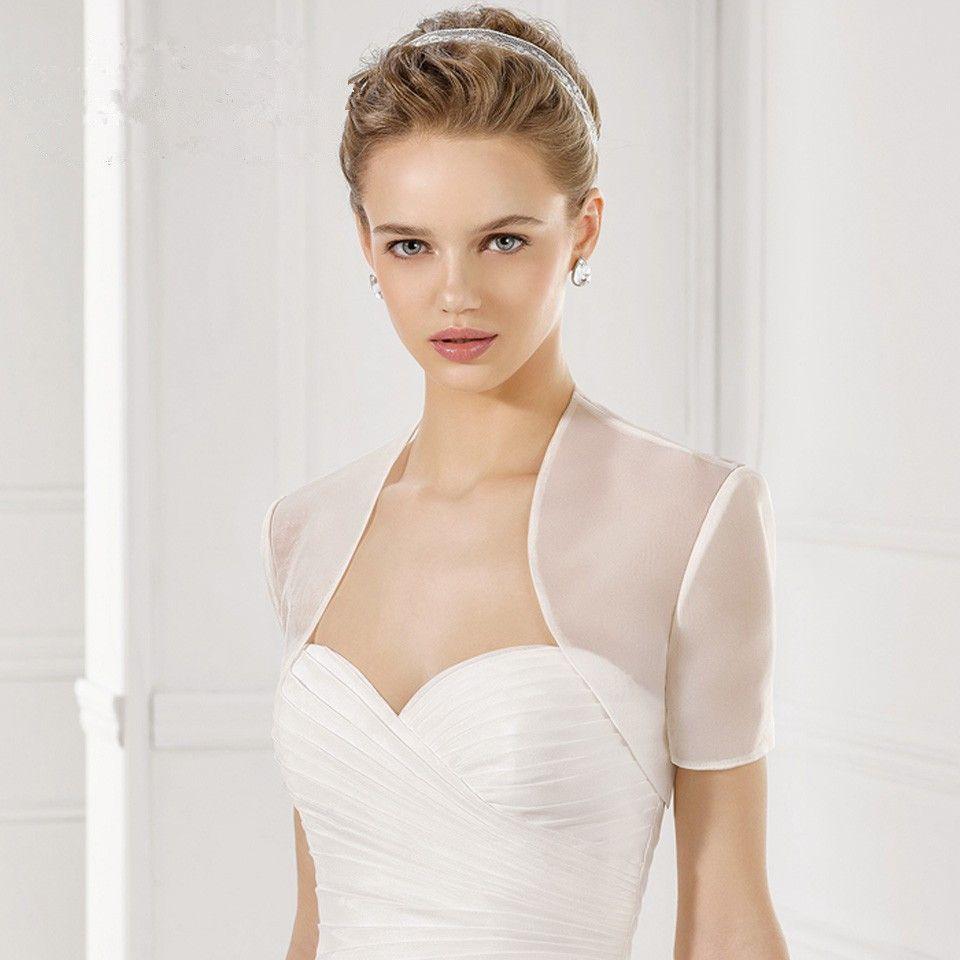 White Wedding Coat Elegant Wedding Boleros Jacket Short Sleeve Organza Bridal Jacket Wedding Accessories Custom Made