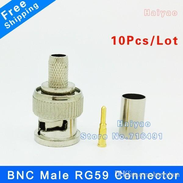 Freeshipping 10 قطع bnc ذكر تجعيد المكونات ل rg59 الكابل المحوري rg59 bnc موصل bnc ذكر 3-piece تجعيد موصل التوصيل ل cctv