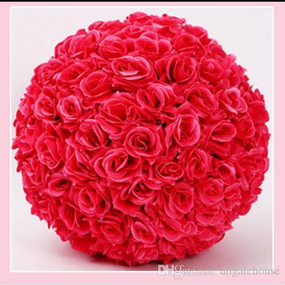 """12 """" 30 см диаметр элегантный свадебная тема искусственные розы цветы шары висячие поцелуи мяч ремесло украшения для свадьбы украшения 16 цветов"""