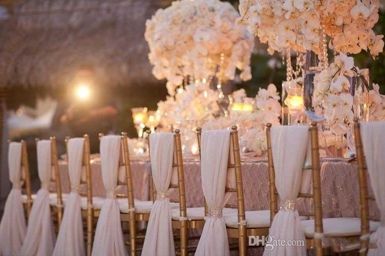 50 pezzi / lotto vendita calda su Dhgate sedia in chiffon Sash Labera matrimonio copertura della sedia partito decorazioni per banchetti per eventi