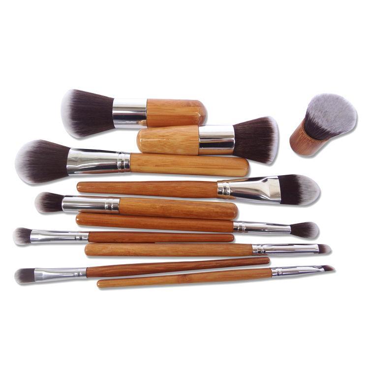 50 компл. профессиональный макияж инструменты пинцет Maquiagem 11 шт. деревянная ручка макияж косметические тени для век Фонд консилер кисть комплект DHL