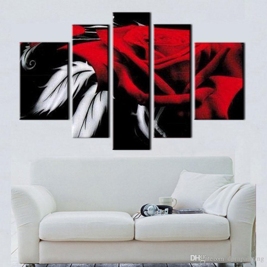 Immagini Belle Da Dipingere acquista 5 schermo dipinto a mano moderna decorativa tela pezzi arte  astratta rosa belle dipinti ad olio la decorazione camera da letto regalo