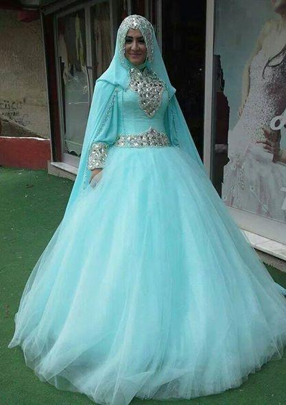 2015 Fashionable Ball Gown Long Sleeve Muslim Minit Green Wedding ...